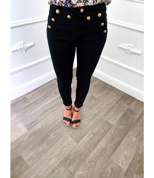 Button Jeans Zwart