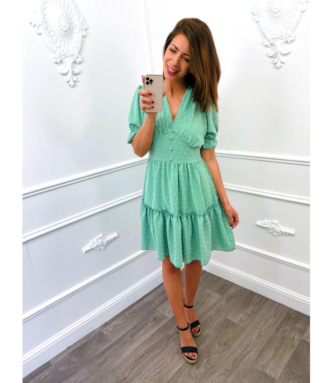 Dots Button Dress Mint Groen