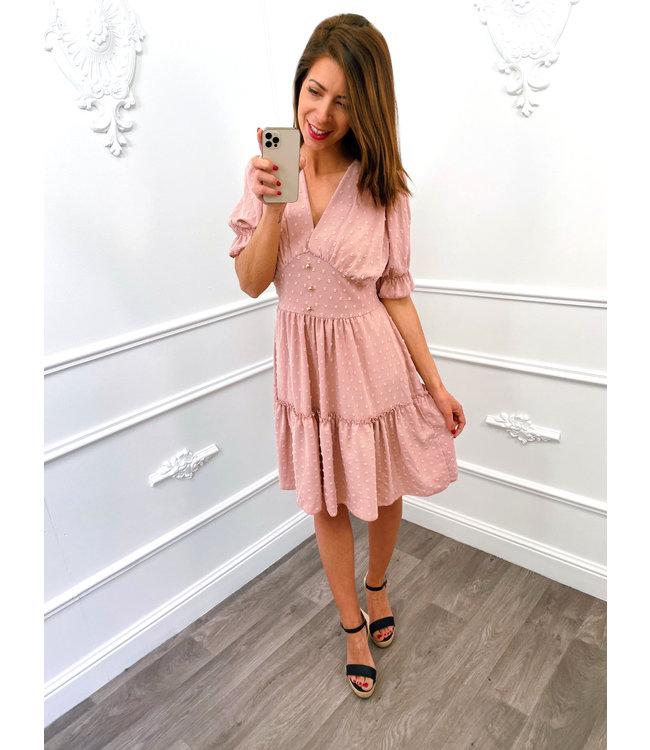 Dots Button Dress Roze