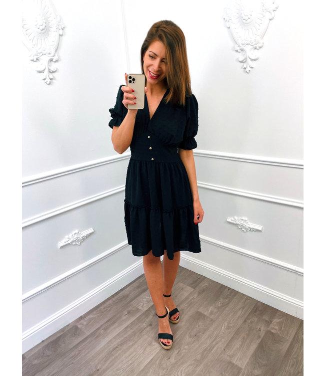 Dots Button Dress Zwart
