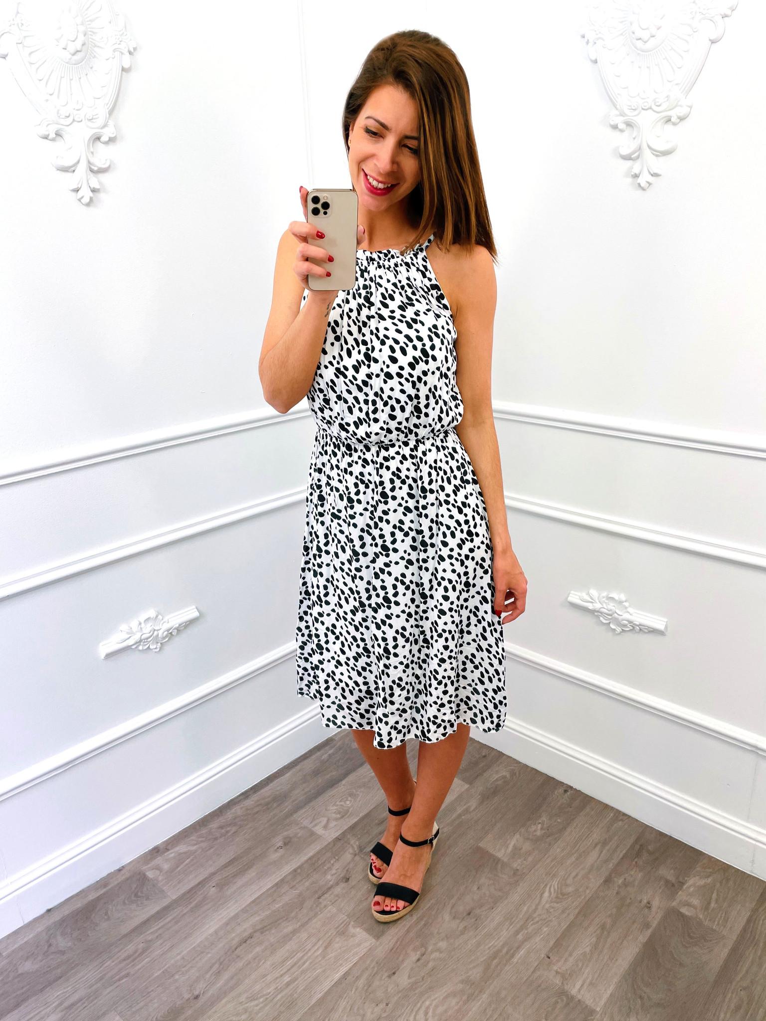 Cheetah Halter Dress Wit