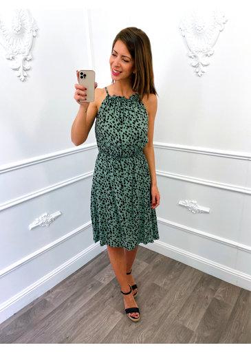 Cheetah Halter Dress Groen