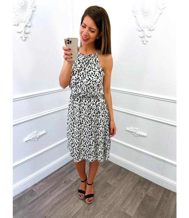 Cheetah Halter Dress Creme