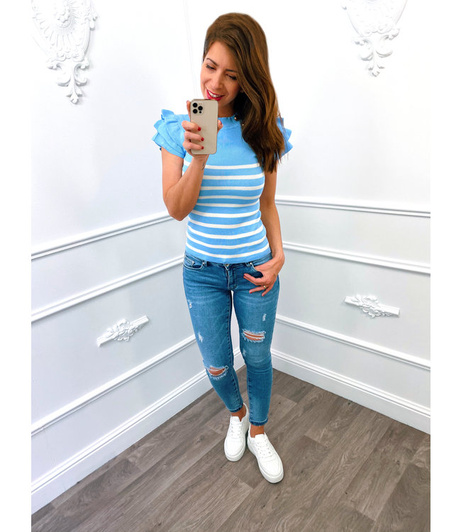 Top Boutons Rayé Bleu