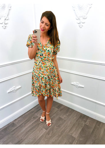 Flower Pofmouw Dress Zwart