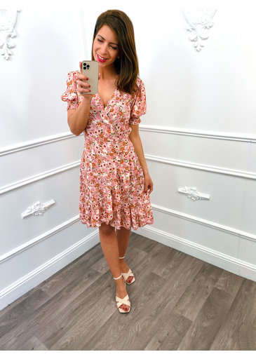 Flower Pofmouw Dress Roze