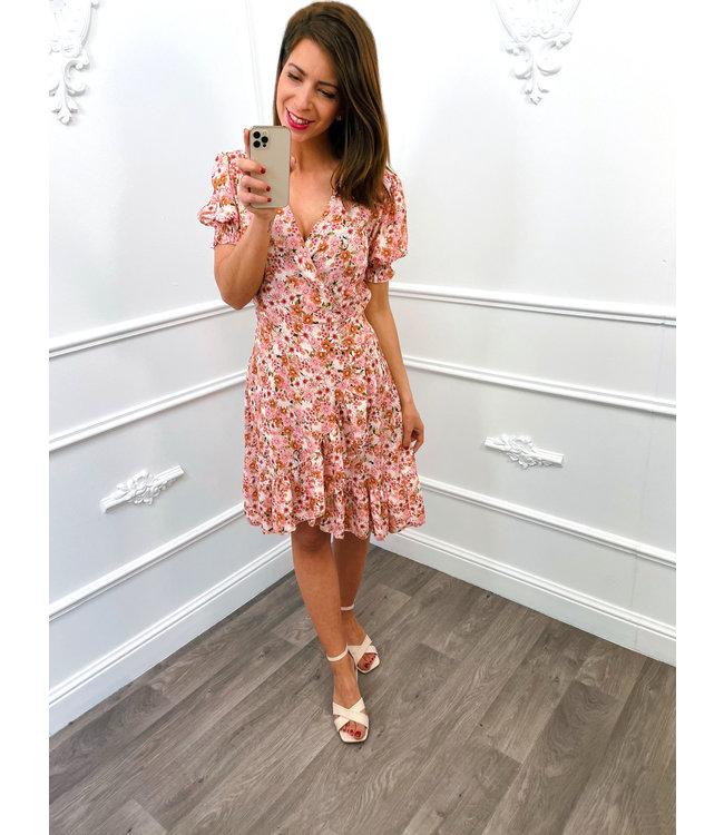 Flower Pofmouw Dress Roze