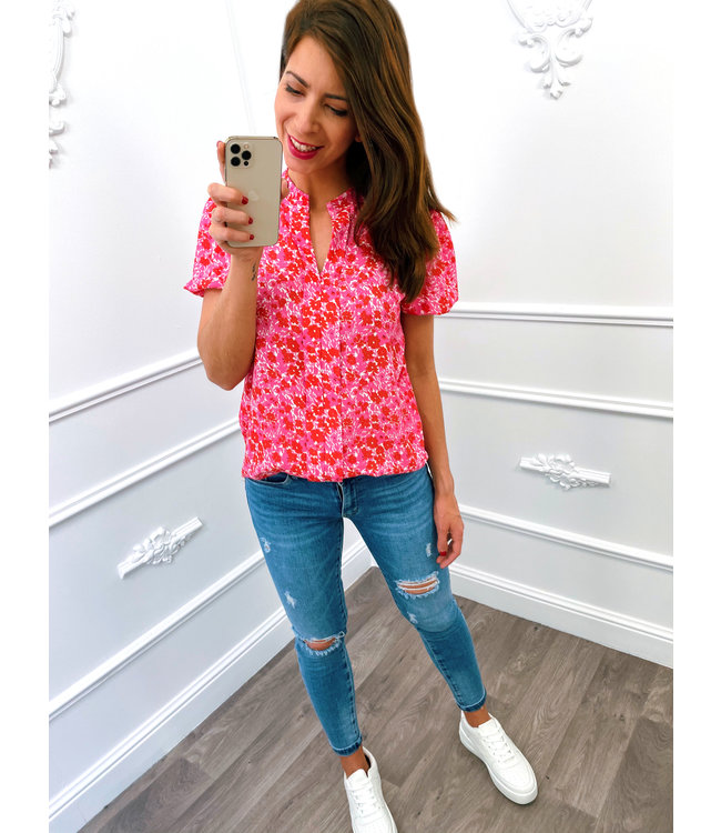 Floral Pofmouw Top Pink