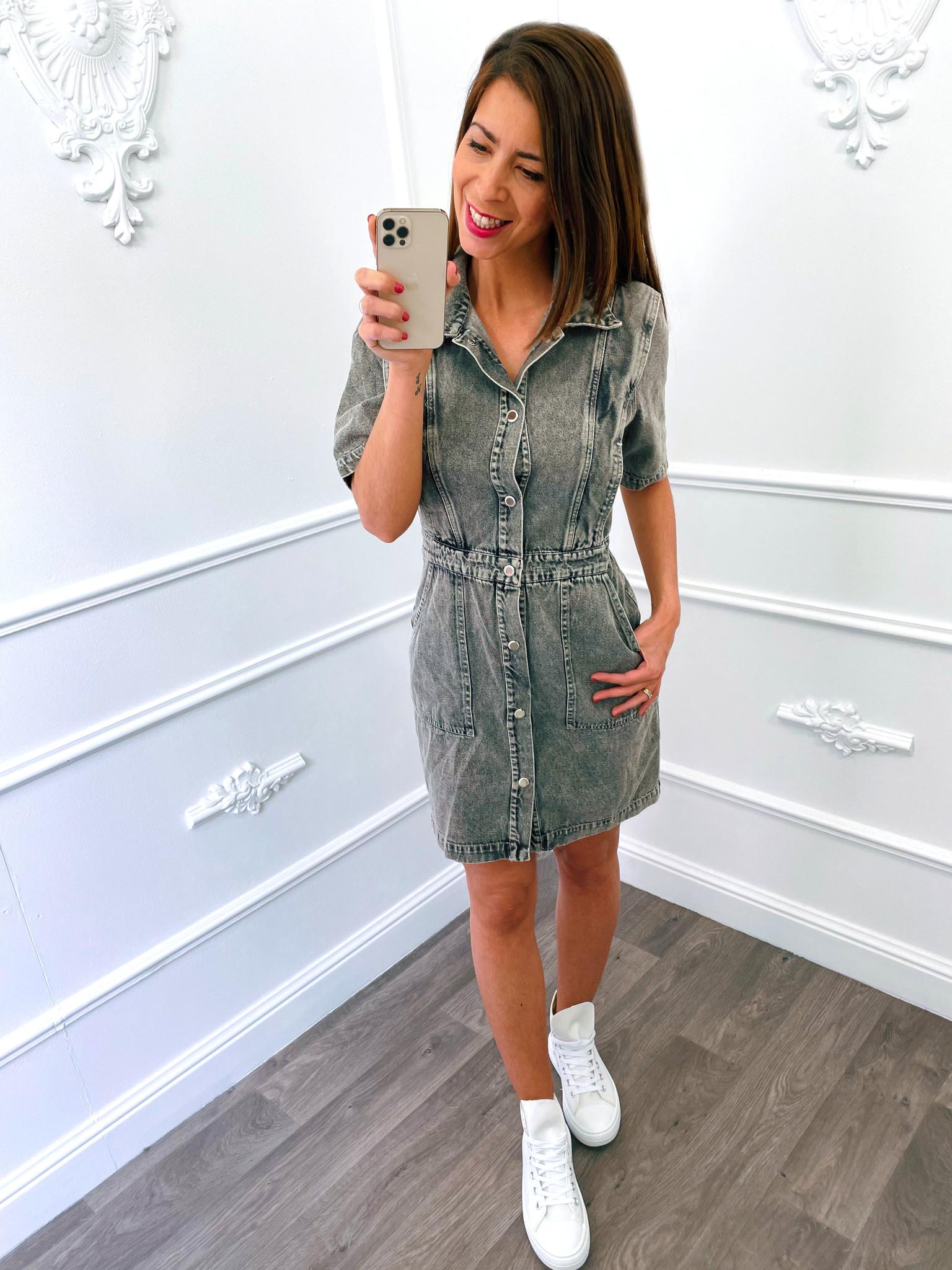 Denim Strip Dress Grey