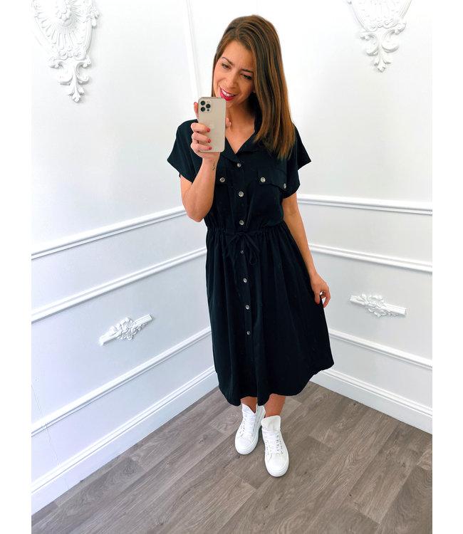 Blouse Dress Korte Mouw Zwart