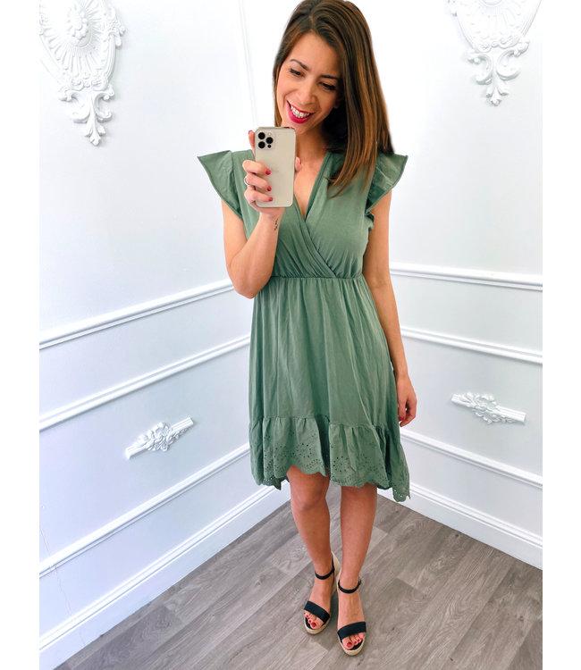 Cotton Lace Dress Groen