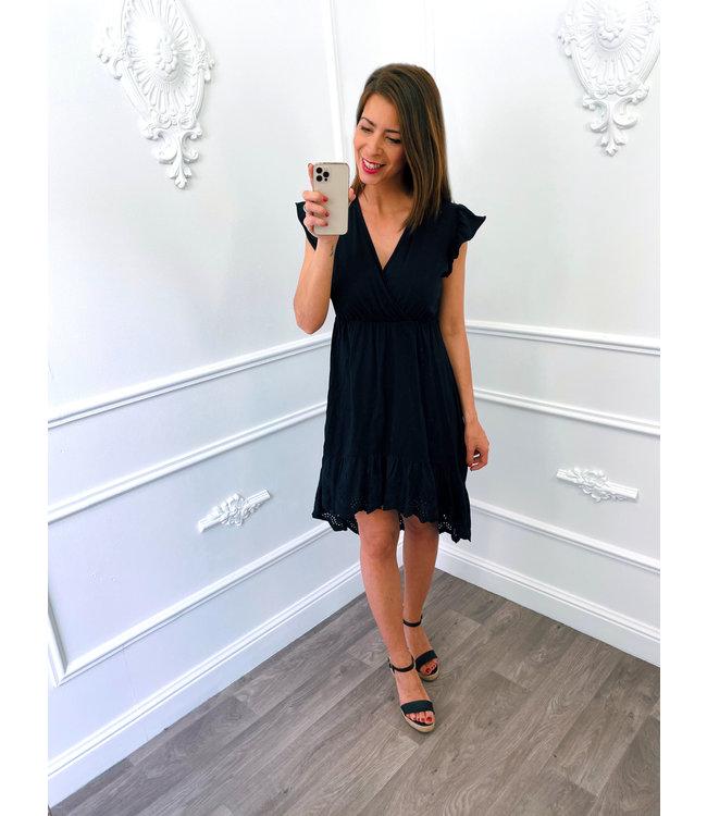 Cotton Lace Dress Zwart