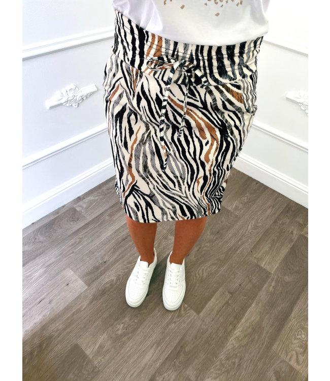 Zebra Print Rok Grijs