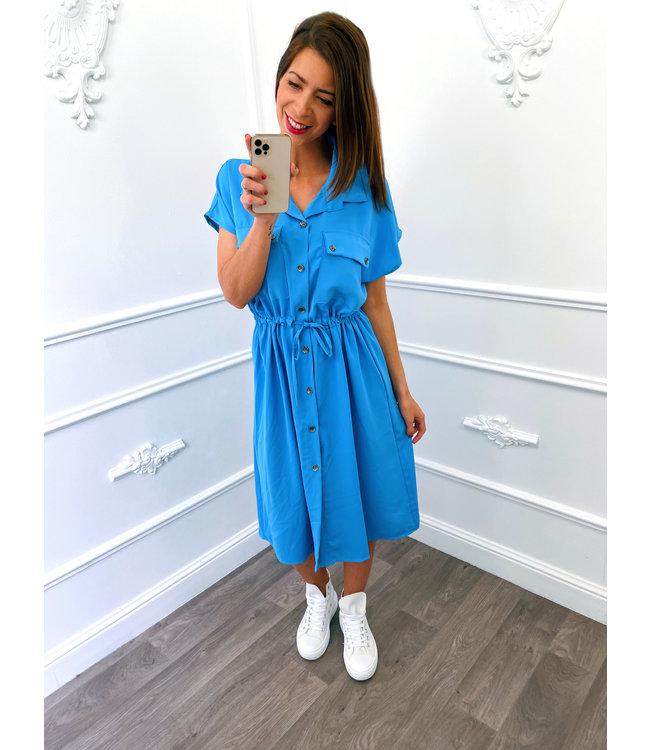 Blouse Dress Korte Mouw Blauw