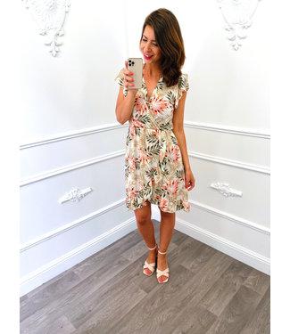 Palm Overslag Dress Creme