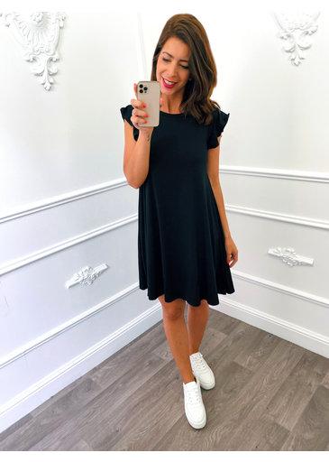 Basic Ruffel Dress Zwart