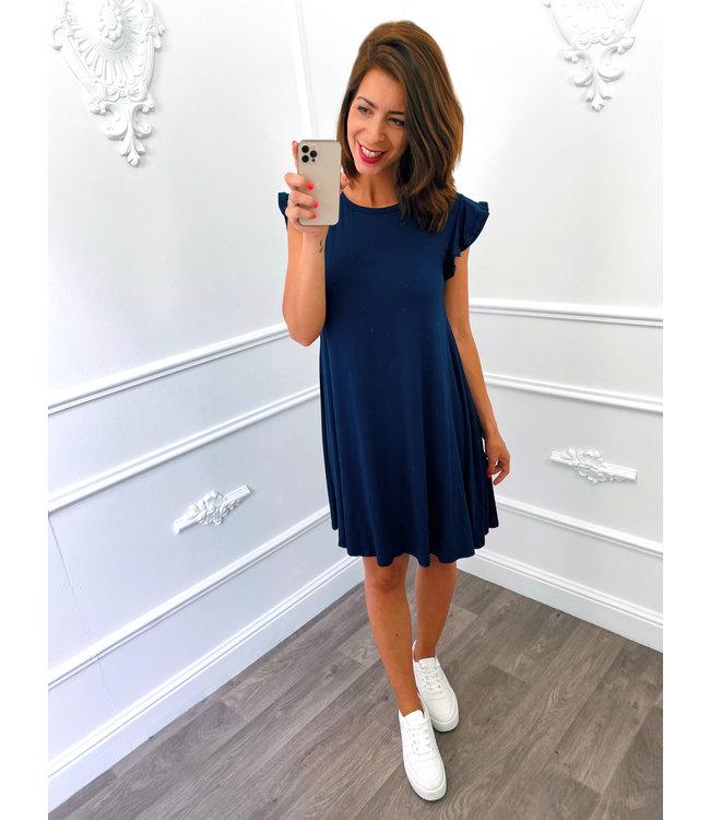 Basic Ruffel Dress Marine Blauw