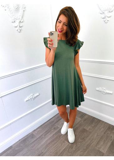 Basic Ruffel Dress Groen