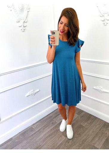 Basic Ruffel Dress Jeans Blauw