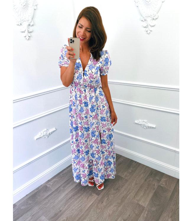 Long Pofmouw Dress Wit