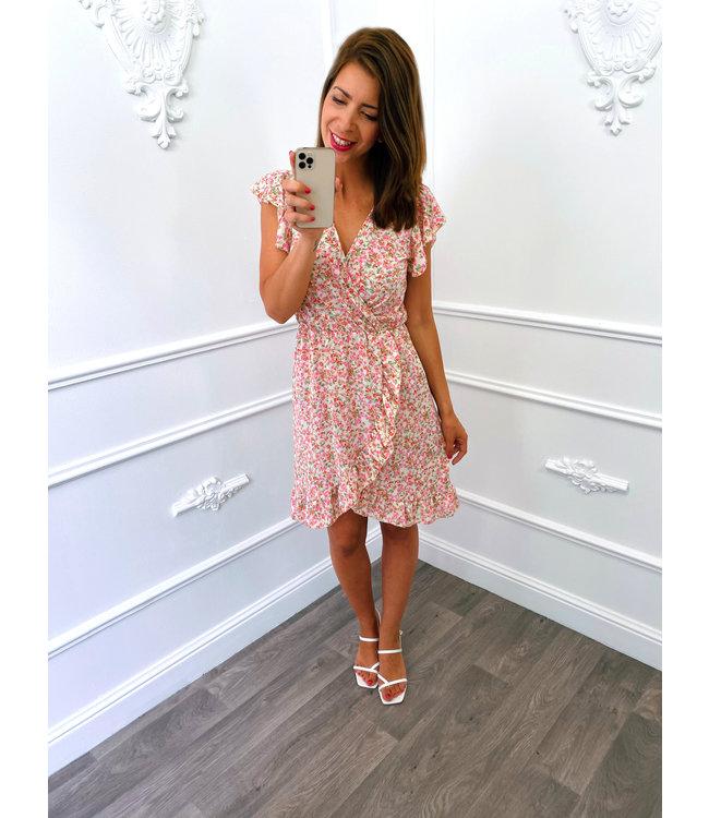 Roses Overslag Dress Creme