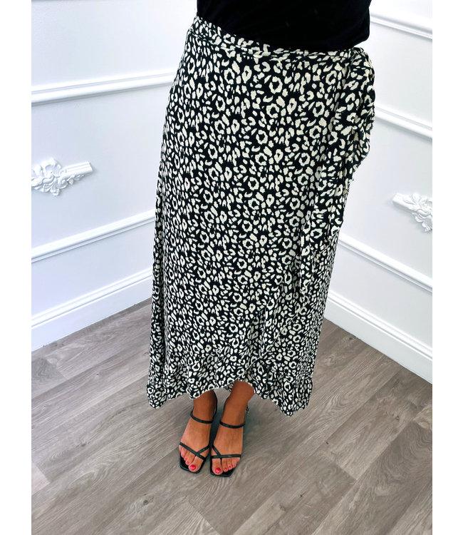 Leopard Wikkelrok Zwart
