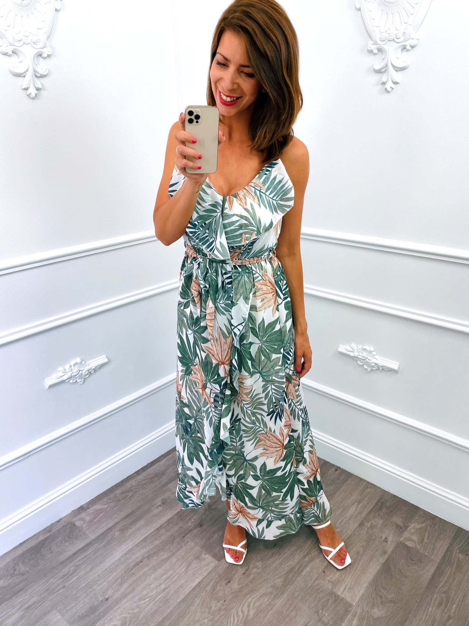 Leaf Spaghetti Dress Wit