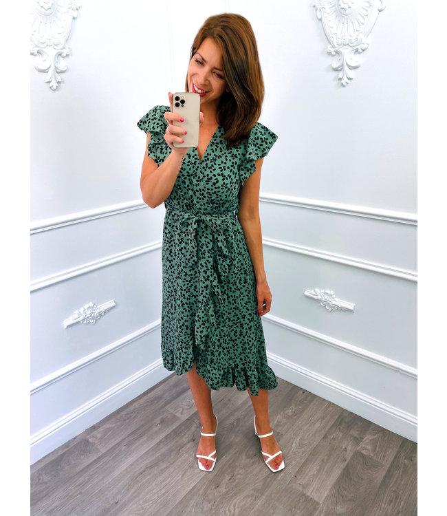 Stip Ruffel Dress Groen