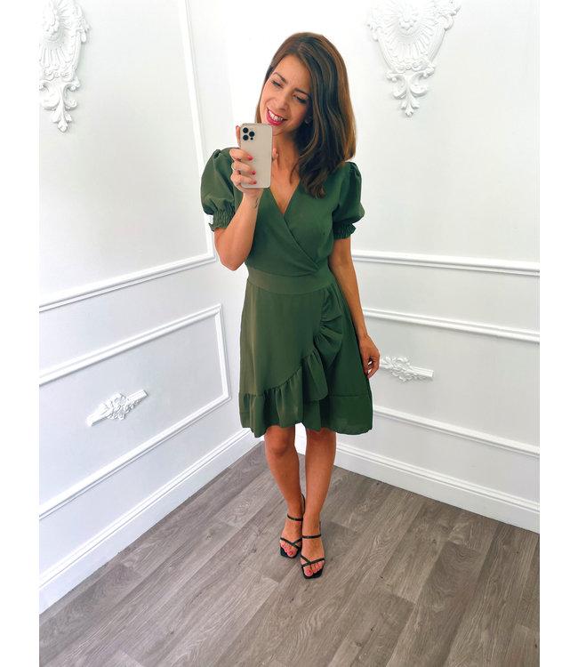Pofmouw Ruffel Dress Groen