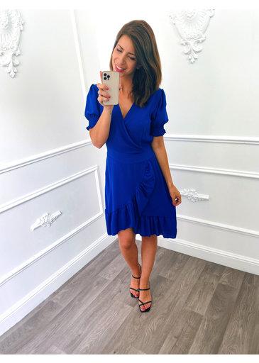 Pofmouw Ruffel Dress Kobalt Blauw