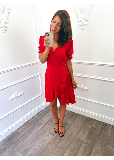 Pofmouw Ruffel Dress Rood