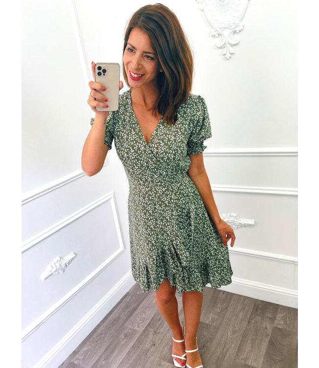 Pofmouw Leaf Dress Groen