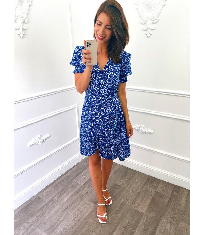 Pofmouw Leaf Dress Kobalt Blauw