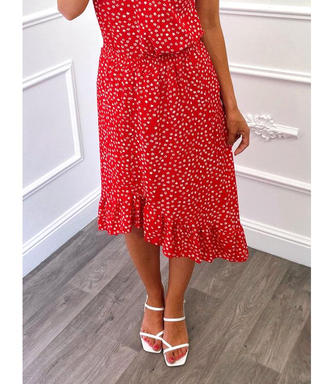Mini Jupe à Fleurs Rouge