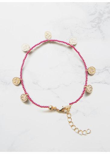 Pink Coins Bracelet Gold