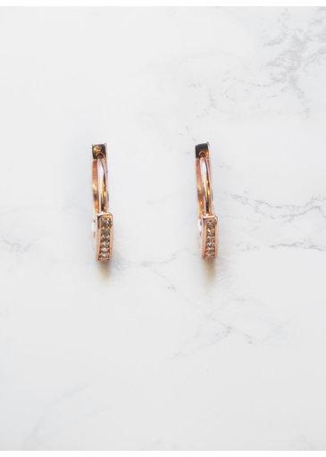 Zirconia Ring Rose Earrings