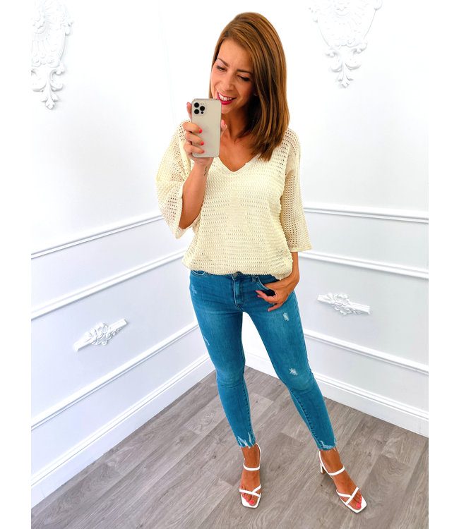 Top Knitted Star Creme