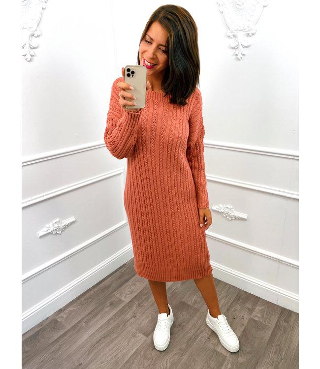 Knitted Dress Koraal