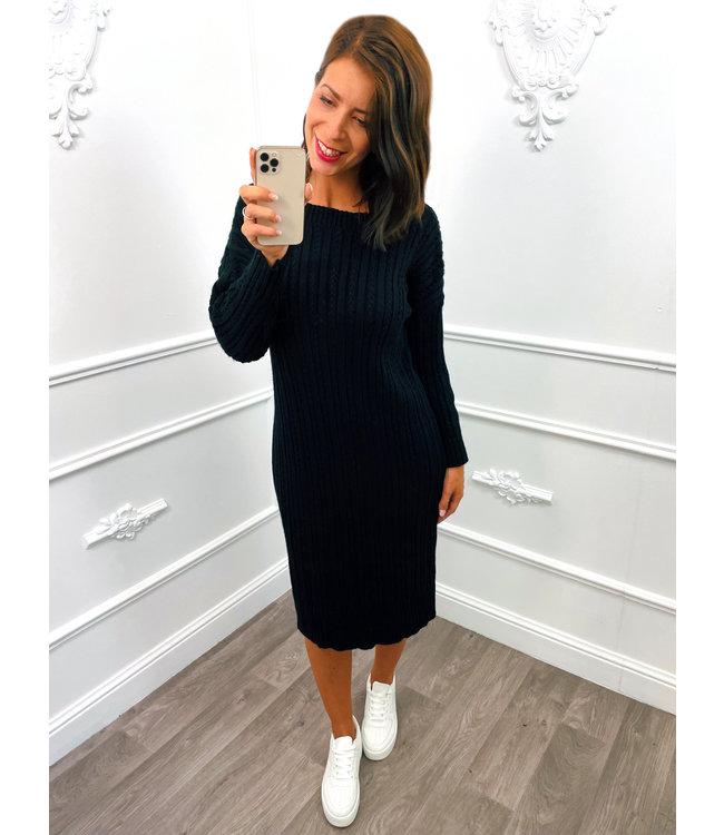 Knitted Dress Zwart