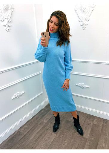Lang Gebreide Dress Blauw