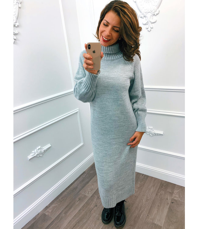 Lang Gebreide Dress Grijs
