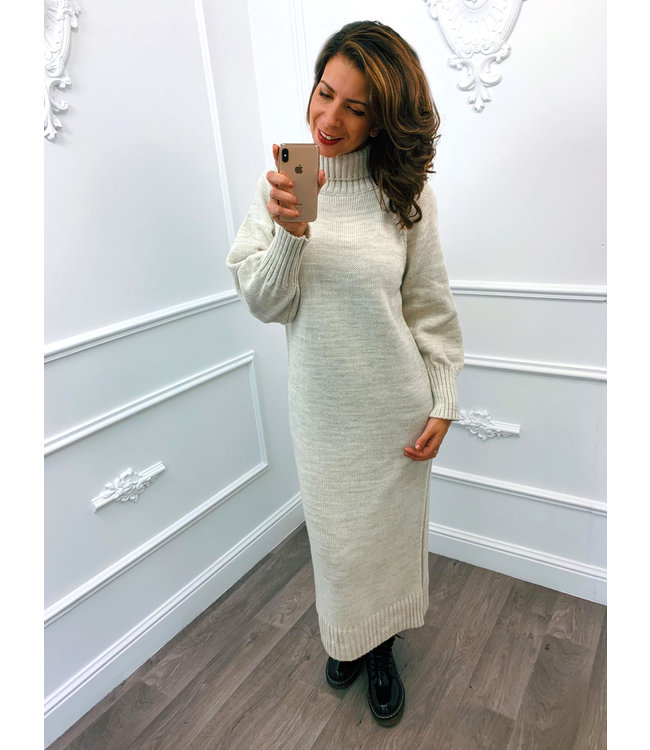 Lang Gebreide Dress Creme