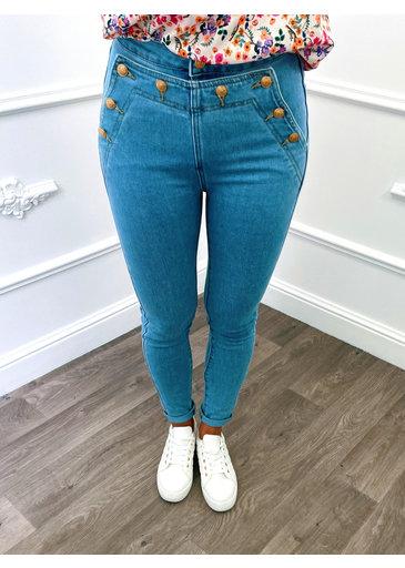 Jeans Boutons Bleu