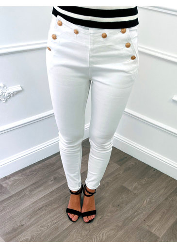Button Jeans Wit