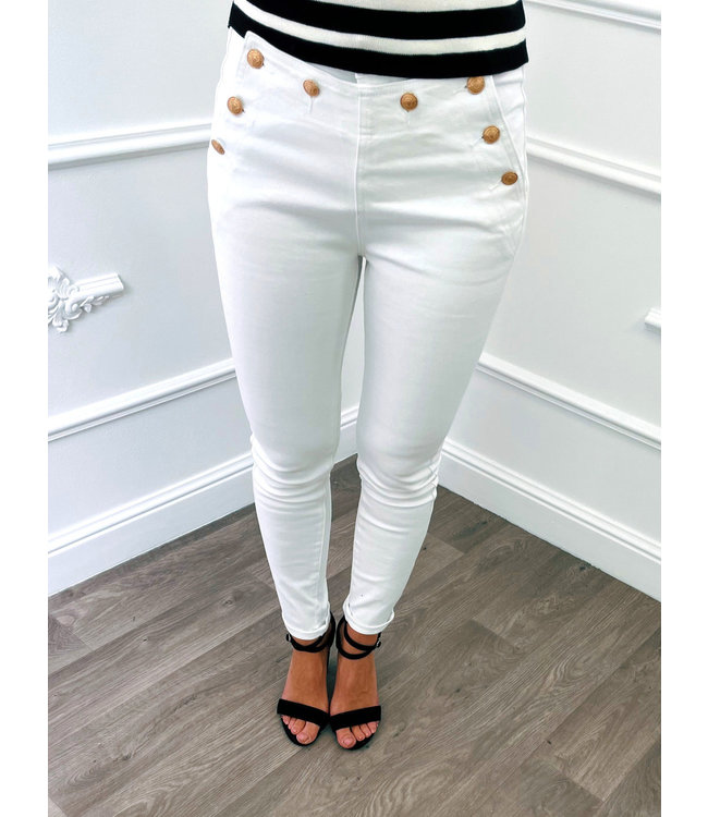 Jeans Boutons Blanc