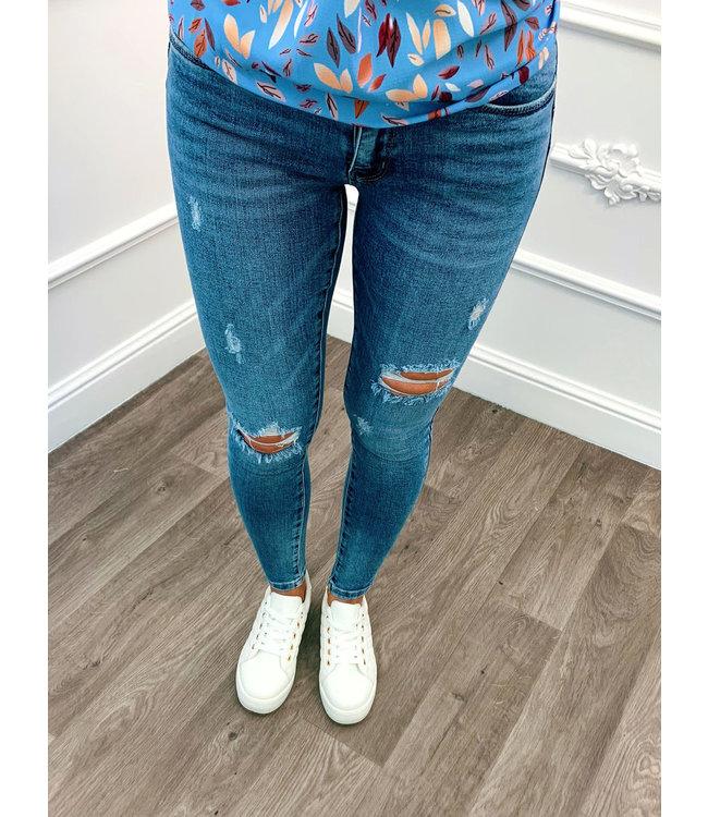Skinny Jeans Rip Blauw