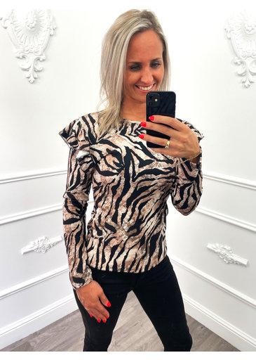 Zebra Ruffel Top