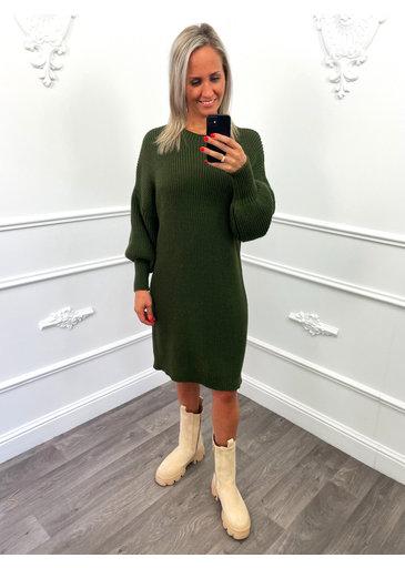 Gebreid Midi Dress Groen