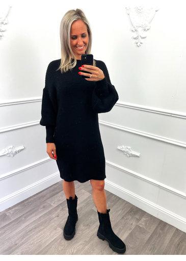 Gebreid Midi Dress Zwart