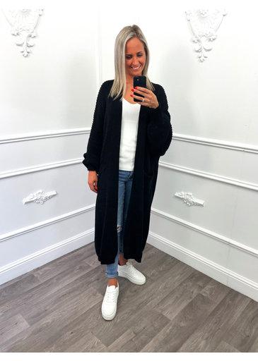 Gebreid Maxi Vest Zwart